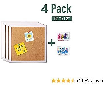 Corksidol Cork Board Bulletin Board 12X 12 Cork Tiles - White Framed Corkboard 4 Pack, Small Square Pin Board for Floor/Wall/DIY-Including 20 Push Pins,Hardware and Template