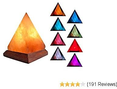V.C.Formark USB Himalayan Salt Lamp Release Negative Ions for Office Home Deco Yoga Gift, Pyramid Salt Crystal Rock Hand Carved+Genuine Wood Base+Colors Changing Salt Lamp