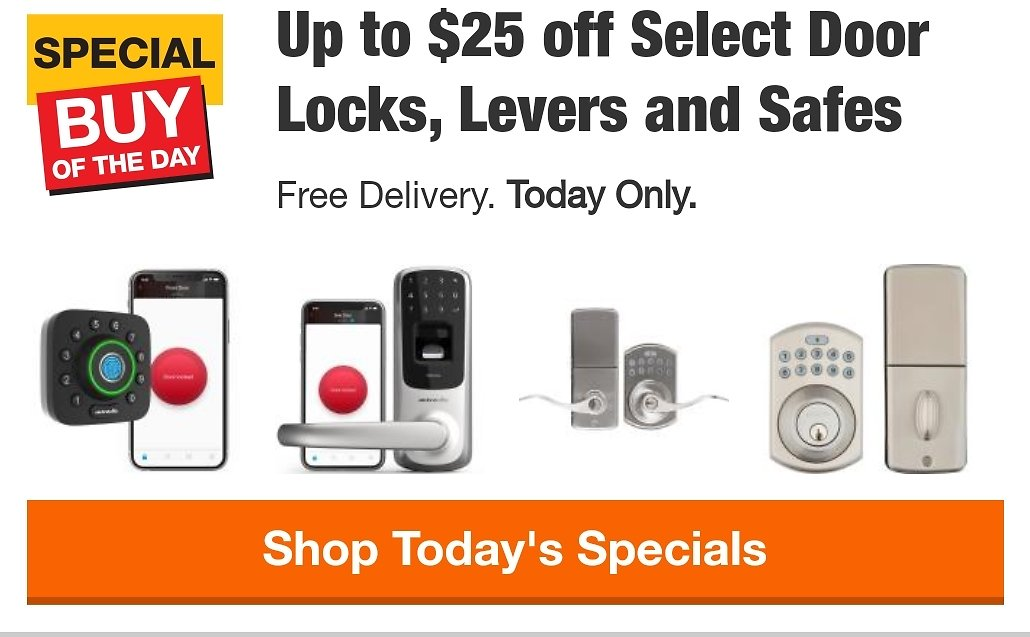 Up to $25 off Select Door Locks, Levers and Safes