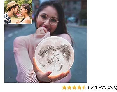 RMFSH Customized Moon Night Light Lamp with Photo Engraved, Three Colors, 3D Printed, Touch & Remote Control, Personalized Picture Gifts for Birthday and Mother's Day, 5.9Inch
