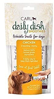 Caru Daily Dish Smoothies Lickable Treats for Dogs (Chicken, Pack of 4), Natural, 56 G/2 Oz (10851395005890)