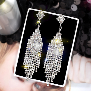 Women Long Crystal Earrings Drop Dangle Stud Wedding Rhinestone Jewelry Party