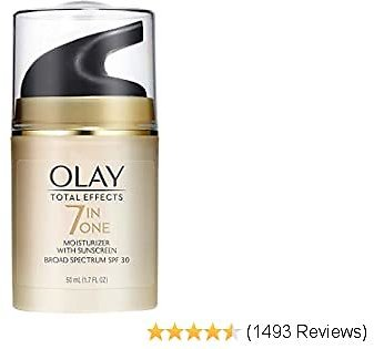 Face Moisturizer with Sunscreen SPF 30 By Olay Total Effects, 7 Benefits , Anti-Aging , 1.7 Oz (Packaging May Vary)