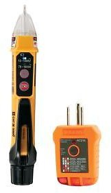Klein Tools 2-Piece Non-Contact Voltage Tester with Laser Pointer and GFCI Outlet Tester Tool Set-NCVT5KIT
