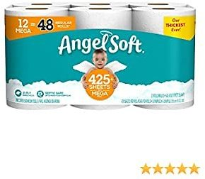 Angel Soft Toilet Paper, 12 Mega Rolls = 48 Regular Rolls, 425+ 2-Ply Sheets Per Roll