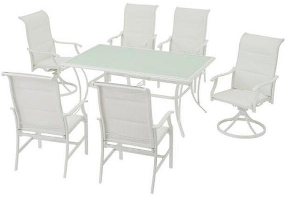 Hampton Bay Riverbrook Shell White 7-Piece Outdoor Patio Aluminum Rectangular Glass Top Dining Set with Padded Sling Chairs FM18107-AL-DCS1