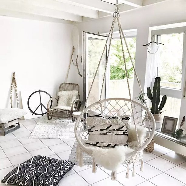 Hanging Hammock Chair w/ Mesh Woven Rope + F/S