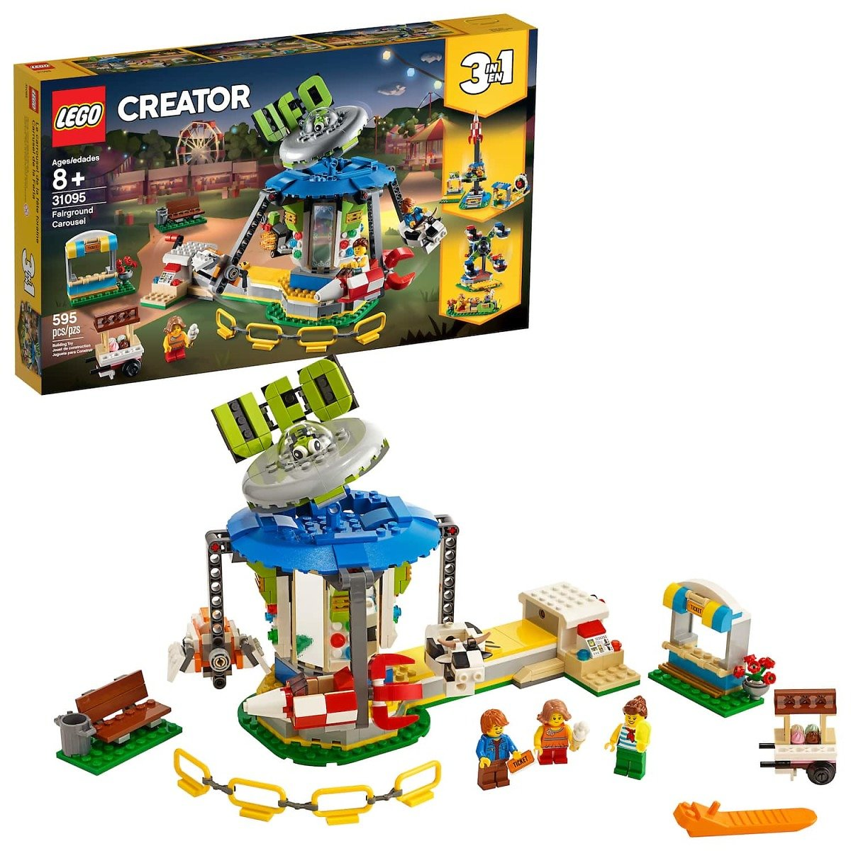 LEGO Creator Fairground Carousel  Space-Themed Building Kit (595 Pieces)
