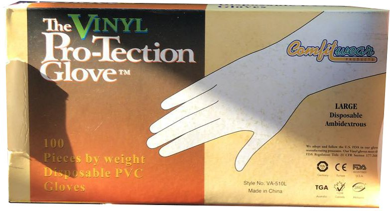 Vinyl Super Glove 100 Disposable PVC Gloves, Large Lightly Powdered 100 Ambidextrous Gloves