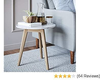 Nathan James Amalia Nightstand Marble Solid Wood Accent Table , White/Light Brown