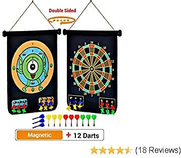 PremiumExclusives Large Double Sided Rollup Magnetic Dart Board for Kids & Adults | Ready to Hang Anywhere | 2 Dart Games and 12 Safe Magentic Darts of 4 Color