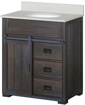 Style Selections Morriston 30-in Distressed Java Single Sink Bathroom Vanity with White Engineered Stone Top Lowes.com