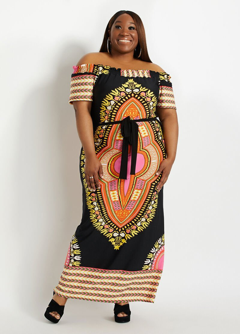 Plus Size Black Belted Dashiki Off The Shoulder Summer Party Dresses