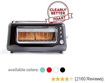 Dash Clear View Toaster: Extra Wide Slot Toaster with Stainless Steel Accents See Through Window - Defrost, Reheat
