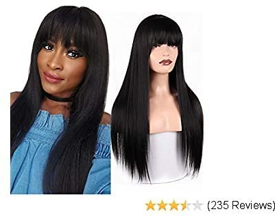 MISSQUEEN Silky Long Straight Wigs for Women Black Synthetic Wigs With Bangs High Temperature Natural Looking Costume Full Wigs