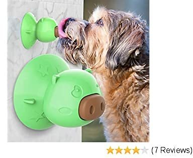 USWT Dog Lick Toy with Suction Cup, Slow Treater Treat Dispensing,Depressing Toys,Teeth Cleaning Chew Toy, Comes with 3pcs Dog Treat (Green-Suction Cup)?-