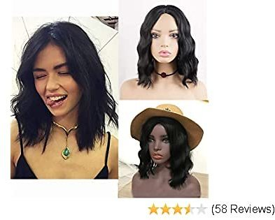 Short Bob Synthetic Hair Wigs for Women Phoenixfly Curly Wavy Middle Part Shoulder Length Natural Looking Hair Wigs 100% Heat Resistant Fiber Hair Replacement Wigs with Wig Caps (Natural Black)