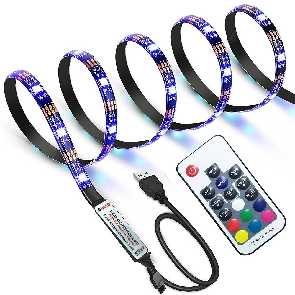 Waterproof USB TV Backlight LED Strip Lights 5050 30 Leds RGB with 17 Key RF Remote Controller Sale, Price & Reviews | Gearbest