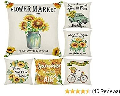 Wtisan Sunflower Pillow,Summer Pillow Covers 18X18,Watercolor Truck with Sunflower Retro Farmhouse Decorative Outdoor Pillow Covers,Floral Throw Pillows for Couch Patio Sofa,Set of 6