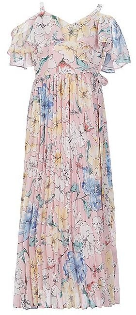 Rare EditionsBig Girls 7-16 Cold-Shoulder Floral-Printed Pleated Long A-Line Dress