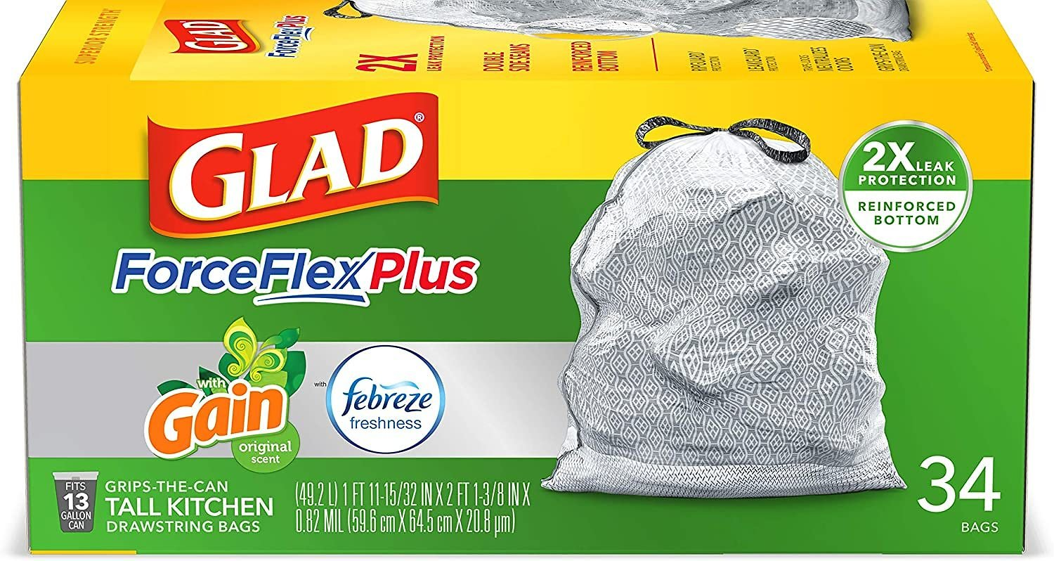 Glad ForceFlex Plus Gain Trash Bags - Original - 45ct