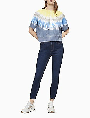 Skinny Fit High Rise Pacific Blue or Dark Wash Ankle Jeans | Calvin Klein
