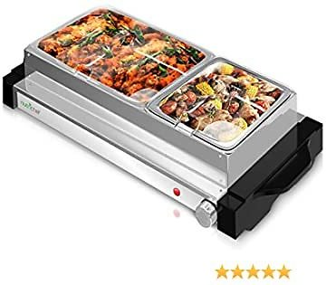 Electric Hot Plate Food Warmer - Dual Buffet Server Chafing Dish Set, Portable Countertop Stainless Steel Electric Warming Tray w/ 2 Section 1.6, 3.2 Qt Serving Containers, Lids - NutriChef PKBFWM25