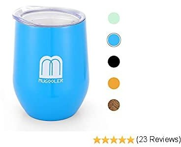 MUGOOLER Vacuum Insulated Wine Tumbler with Lid,12oz Stemless Stainless Steel Insulated Wine Glass Coffee Mug, for Cocktail, Beer, Office Use (Blue)