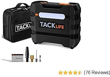 TACKLIFE ACP1B Digital Tire Inflator Portable Air Compressor 150PSI, 12V Auto Tire Pump with Overheat Protection, LCD Display, Emergency Light, 3 Nozzles and Extra Fuse