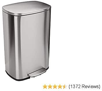 AmazonBasics Rectangle, Stainless Steel, Soft-Close, Step Trash Can, 50L, Satin Nickel