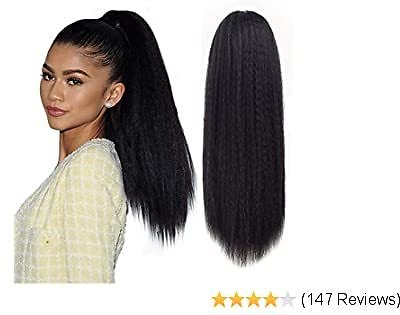Long Kinky Straight Drawstring Ponytail for Black Women, Yaki Curly Hair 24 Inch Clip in Ponytail Extension (Natural Black)
