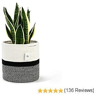 POTEY 700402 Cotton Rope Woven Plant Basket Modern Woven Basket for 11