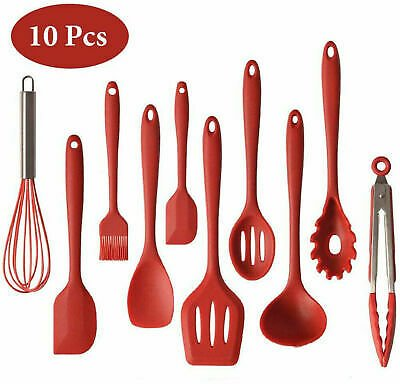 Silicone Kitchen Utensils Set of 10 Heat Resistant Non-Stick Cooking Tools