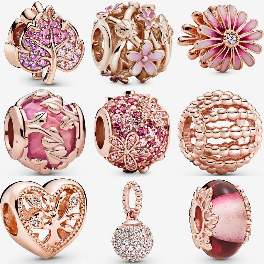 New 925 Sterling Silver Rose Gold Pink Daisy Flower Charm Fit Pandora Bracelet Family Charm Murano Glass Bead DIY Jewelry Beads