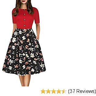 Oxiuly Women's Vintage Elegant Scoop Neck Button Decoration Casual Pockets Swing Dress for Work Party OX312
