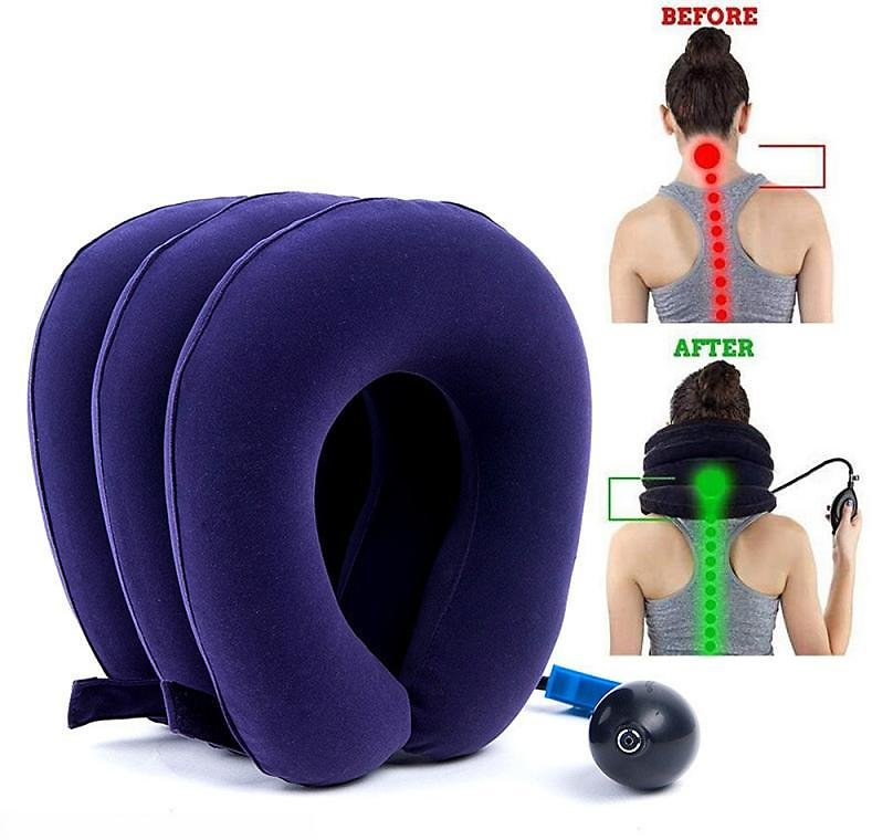 Soft U Neck Pillow Air Inflatable Pillow Cushion Cervical Brace Neck Shoulder Pain Relax Support Massager Pillow Device Traction