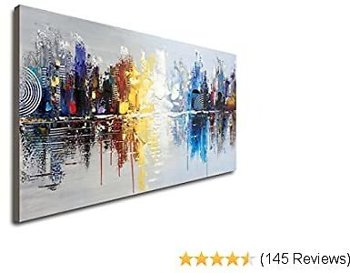 Hand Painted Cityscape Modern Oil Painting On Canvas Reflection Abstract Wall Art Decor (48 X 24 Inch)