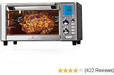 """Emeril Everyday 360 Deluxe Air Fryer Oven, 15.1"""" X 19.3"""" X 10.4"""" with Accessory Pack, Silver"""