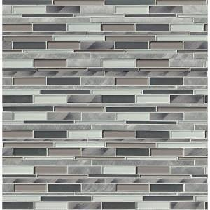MSI 12 In. X 12 In. X 8mm Cityscape Interlocking Textured Glass and Metal Mesh-Mounted Mosaic Wall Tile (10 Sq. Ft./case)-GLSMTIL-CS8MM