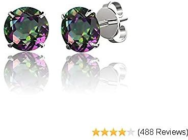 .925 Sterling Silver Hypoallergenic Black, White, Amethyst, Citrine, Garnet, Pink Cubic Zirconia Stud Earrings, Round Brilliant, Princess, Heart, Star, Triangle, 4mm - 11mm (Choice of Shapes & Sizes)