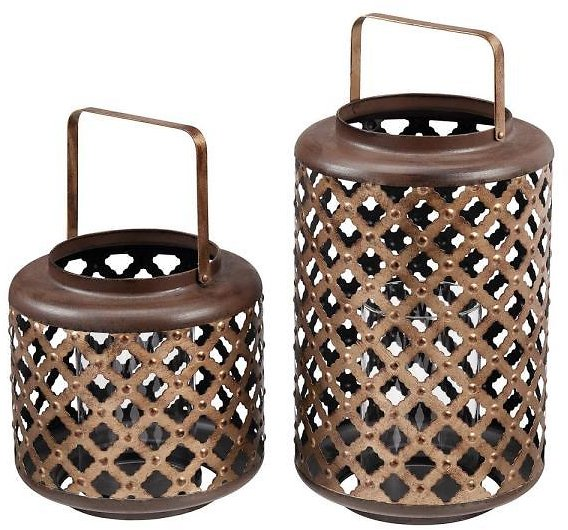 Home Decorators Collection Home Decorators Collection Antiqued Bronze Lattice Candle Hanging or Tabletop Lantern (Set of 2) 12663-01HD