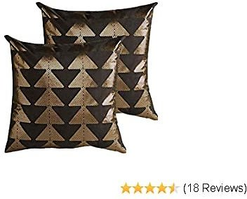MOTINI Black and Gold Geometric Suede Throw Pillow Covers Decorative Pillowcases for Sofa Couch Bed Chair, 18