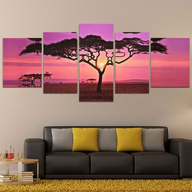 5 Pcs Large Sunset&Tree Canvas Oil Print Painting Picture Modern Abstract Home Wall Art Sticker Decor No Frame Gifts