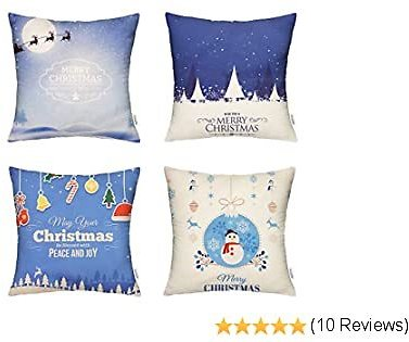 HIPPIH Christmas Pillow Covers 18x18 Inch, 4 Pack Decorative Linen Throw Pillow Cover with The Pattern of Christmas Decorations