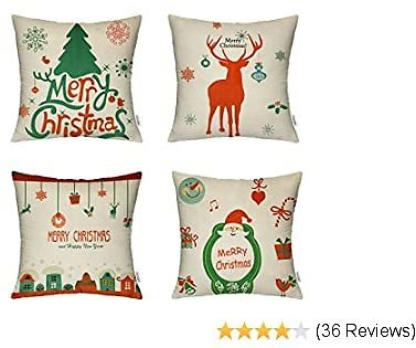 Christmas Pillow Covers 18x18 Inch, 4 Pack Decorative Linen Throw Pillow Cover with The Pattern of Christmas Tree, Reindeer, Happy House & Santa Claus for Livingroom Bedroom Car