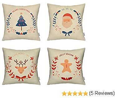 HIPPIH Christmas Pillow Covers 18x18 Inch, 4 Pack Decorative Linen Throw Pillow Cover with The Pattern of Christmas Tree, Deer, Happy Baby & Santa Claus for Livingroom Bedroom Car