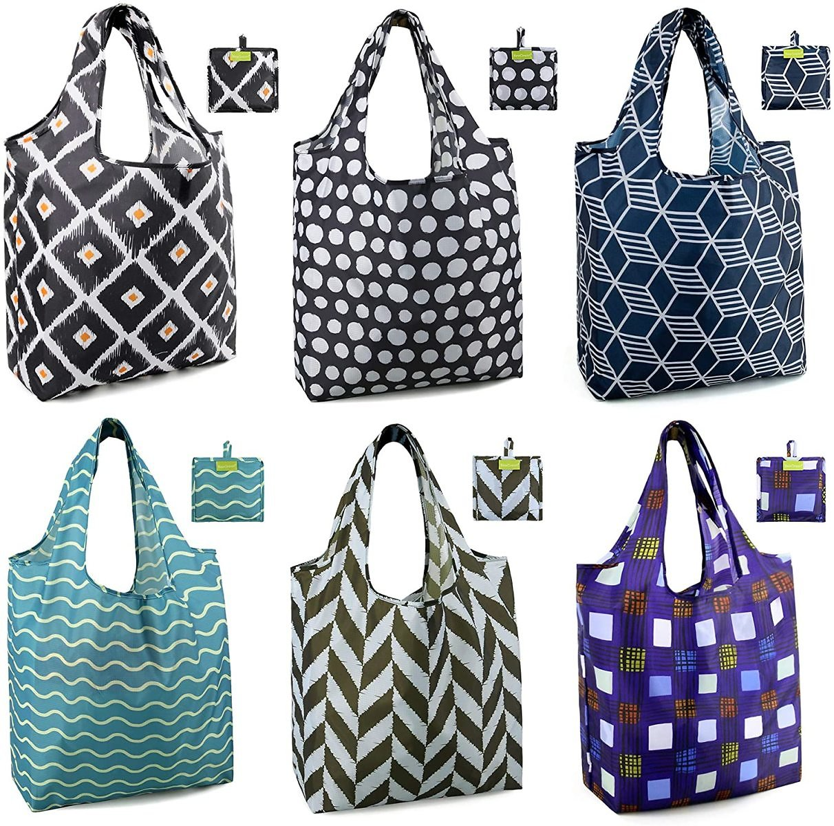 15% OFF | Shopping Bags Reusable Grocery Tote Bags 6 Pack XLarge 50LBS