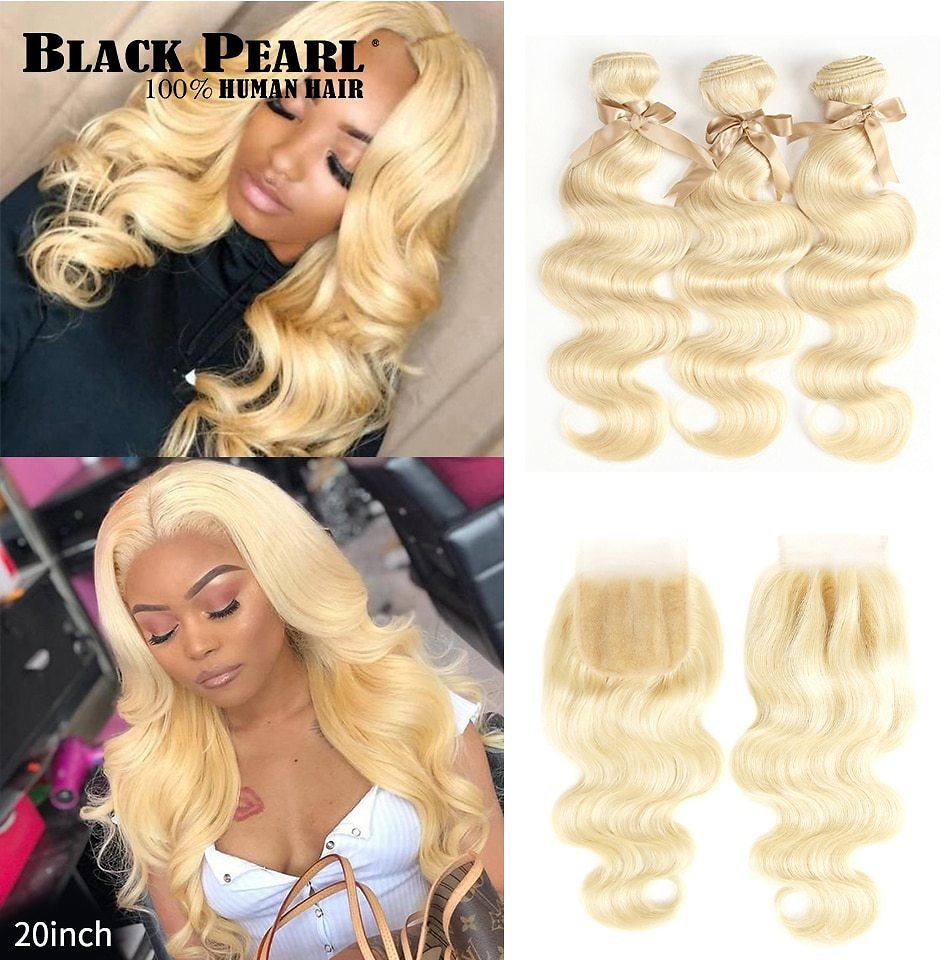 613 Blonde Bundles With Closure Malaysian Body Wave Remy Human Hair Weave Honey Blonde 613 Bundles With Closure