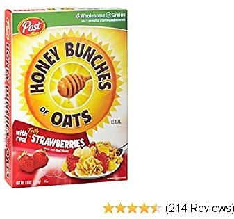 Post Honey Bunches of Oats Strawberry Breakfast Cereal, 13 Ounce, Pack of 12