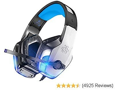 BENGOO V-4 Gaming Headset for Xbox One Ps4 Pc, Noise Cancelling Over Ear Headphones with Mic LED Light Soft Memory Earmuffs for Nintendo Switch